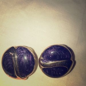 Vintage pair pierced earrings purple enamel goldto